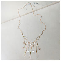Shell & Disc Long Necklace -  gold-grey