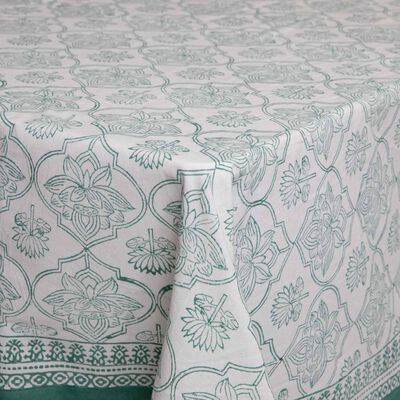 Green & White Tablecloth
