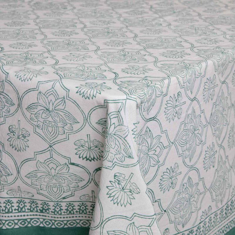 Green & White Tablecloth -  green-white