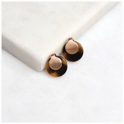 Overlap Metal & Resin Disk Stud Earrings