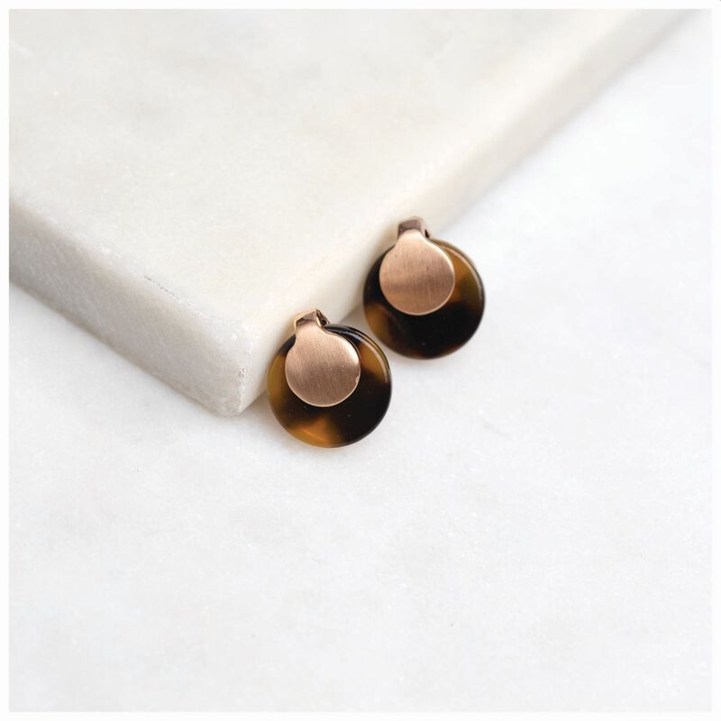 Overlap Metal & Resin Disk Stud Earrings