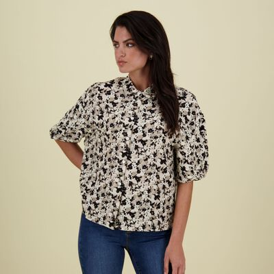 Macy Printed Button Through Blouse
