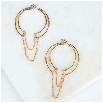 Concentric Metal Hoop & Chain Earrings