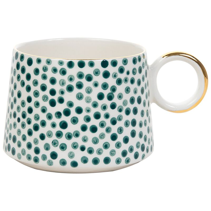 Kapula Akara Dotted Mug -  green-white