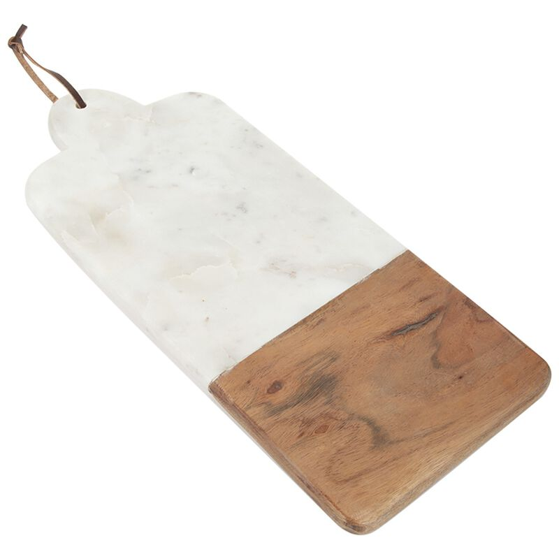 Wood & Marble Stripe Board -  white-brown
