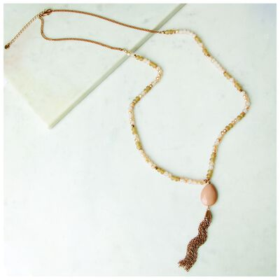 Beaded Cluster Pendant Necklace