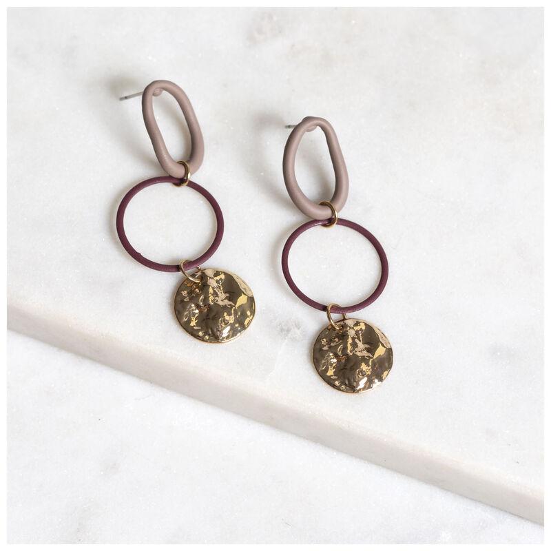 Coated Link Hoop Earrings -  gold-brown