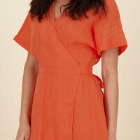Cara Wrap Dress -  orange