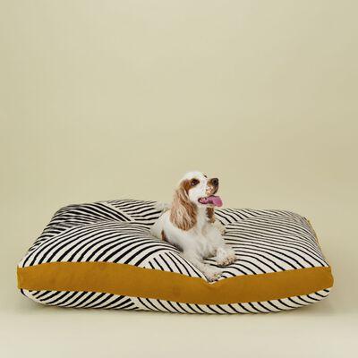 Black & Milk Striped Dog Pillow XL