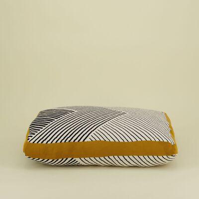 Black & Milk Striped Dog Pillow L