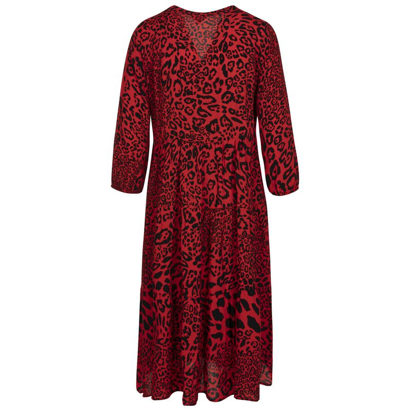 Alsabe Leopard-Print Tiered Dress -  red