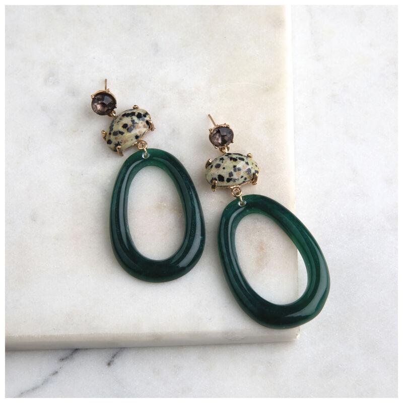 Natural Stone Drop Earrings -  green