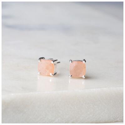 Silver & Peach Moonstone Stud Earrings