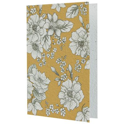 Ochre & White Floral Growing Paper Card