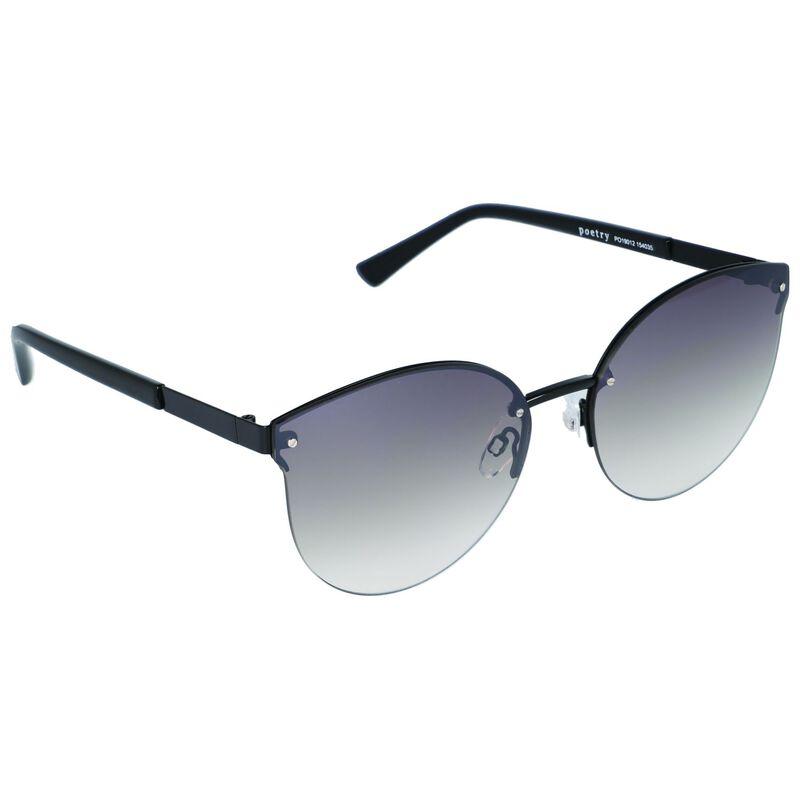 Frameless Catseye Sunglasses -  black-black