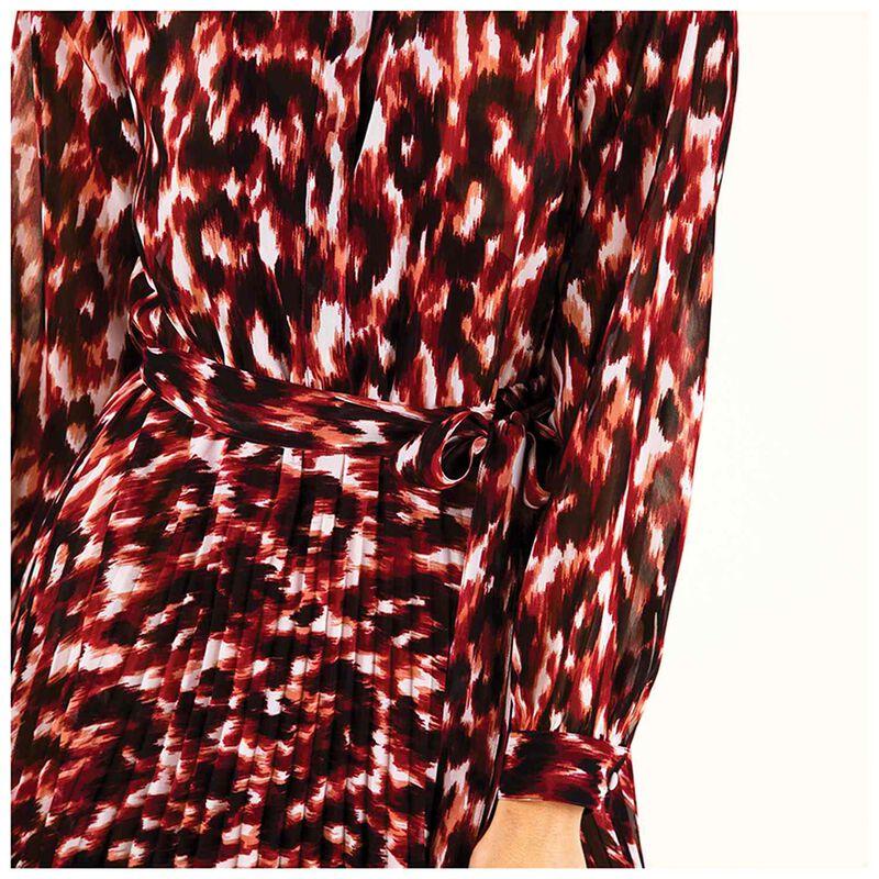 Rosemary Printed Pleat Dress -  burgundy