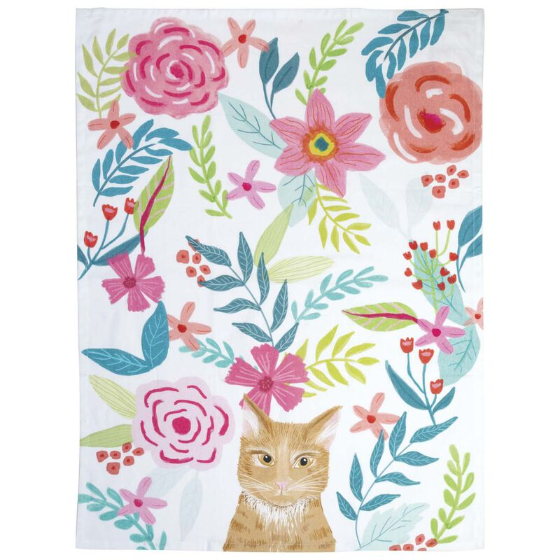 Floral Cat Tea Towel -  assorted