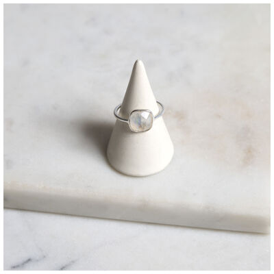 Silver & Moonstone Cushion Drop Ring