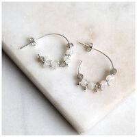 Labradorite & Sterling Silver Beaded Hoop Earrings -  green