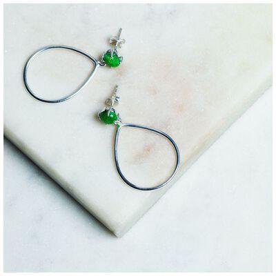 Emerald & Silver Teardrop Earrings