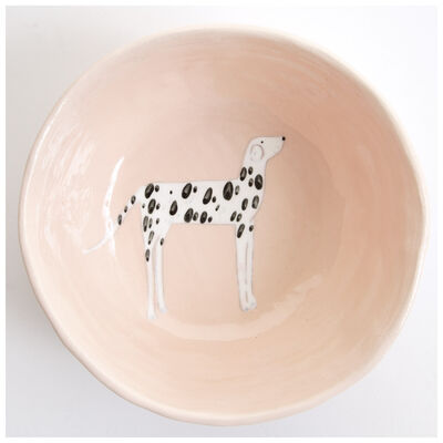 Gemma Orkin Pale Pink Dalmatian Dog Medium Bowl