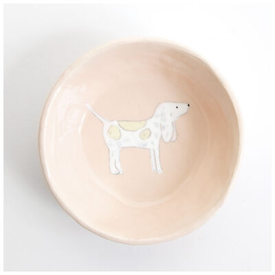 Gemma Orkin Pale Pink Beagle Dog Snack Bowl