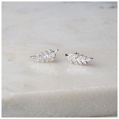 Silver & Clear Crystal Fern Stud Earrings