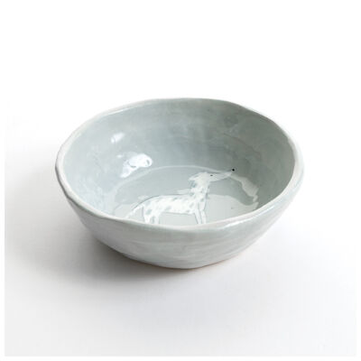 Gemma Orkin Light Grey Greyhound Dog Snack Bowl