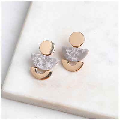 Geo Stone Stud Earrings