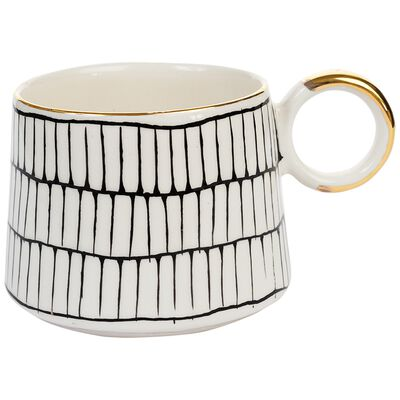Kapula Black and White Grid Mug