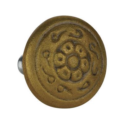 Engraved Brass Round Knob