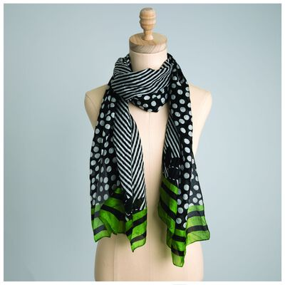 Freeda Dot and Stripe Silk Scarf