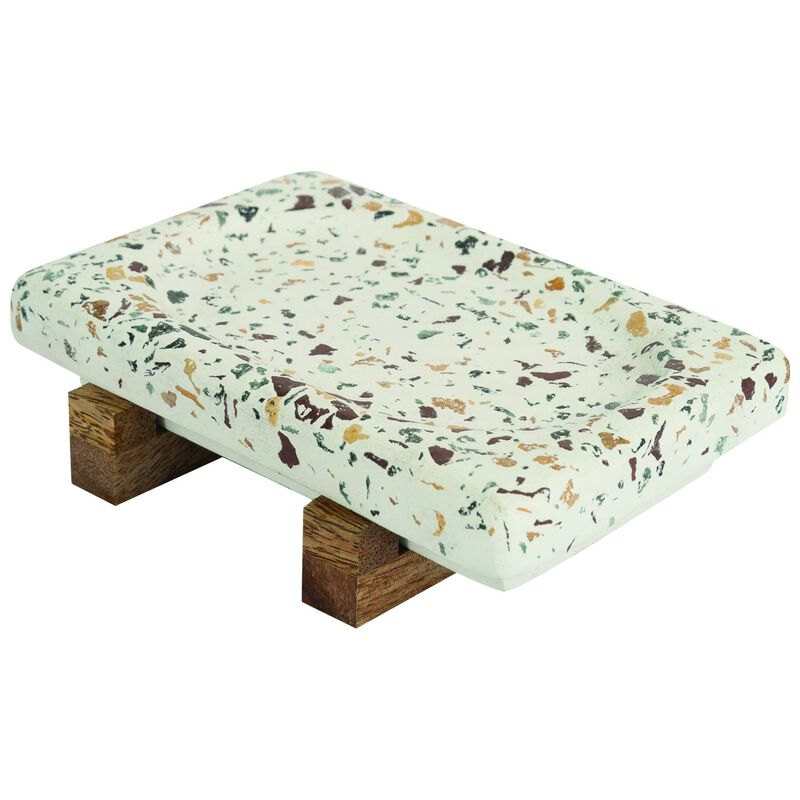 Terrazzo Soap Dish with Wood Stand -  assorted