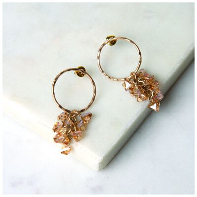 Circle & Clustered Stone Drop Earrings