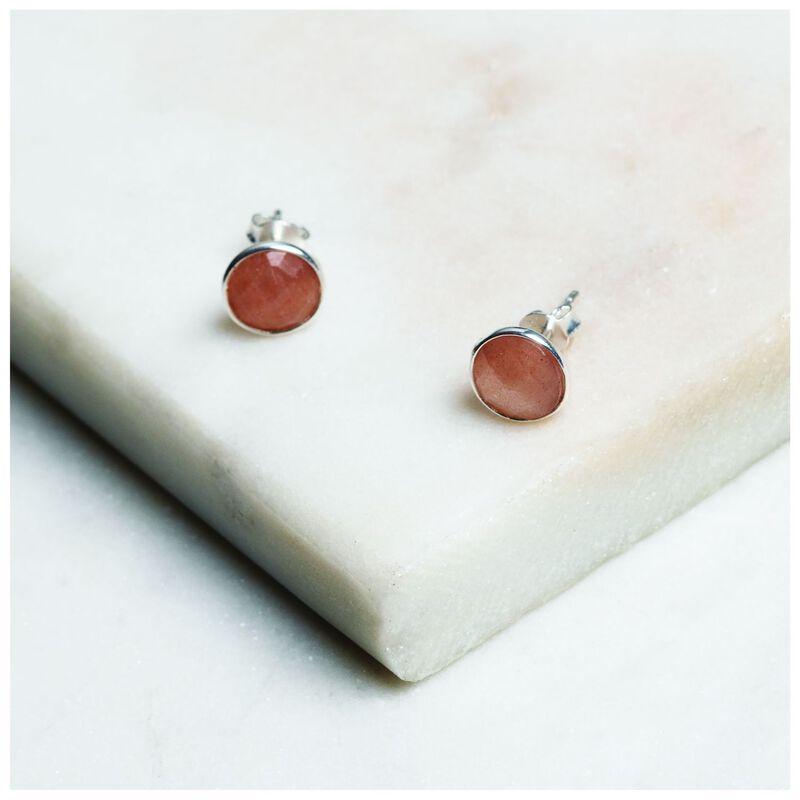 Peach Moonstone Stud Earrings -  pink-silver