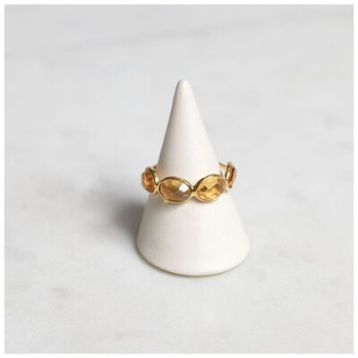 Citron & Gold Plated Silver 4 Stone Ring