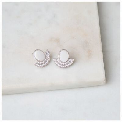 Shell & Bead Fan Stud Earrings