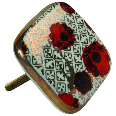 Red Rose and Gold Square Knob