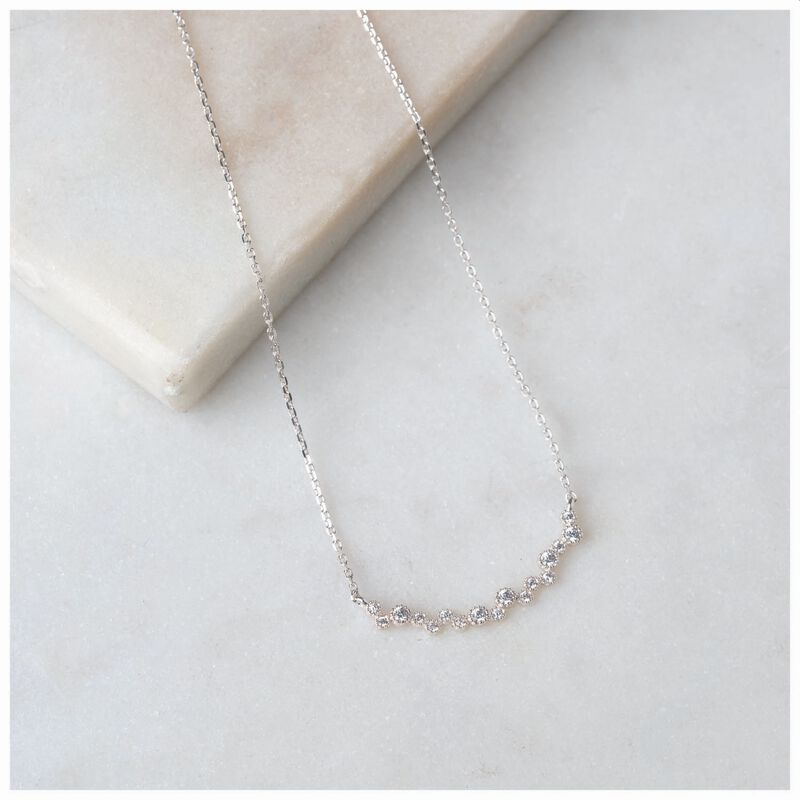 Cubic Zirconia & Sterling Silver Necklace  -  silver