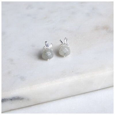 Silver Grey Moonstone Stud Earrings
