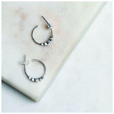 Crystal Cluster and Silver Hoop Earrings