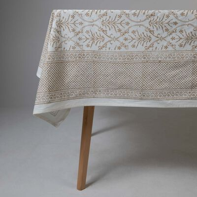 Gold & White Chintz Tablecloth