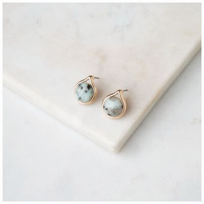 Domed Dalmation Stone Stud Earrings