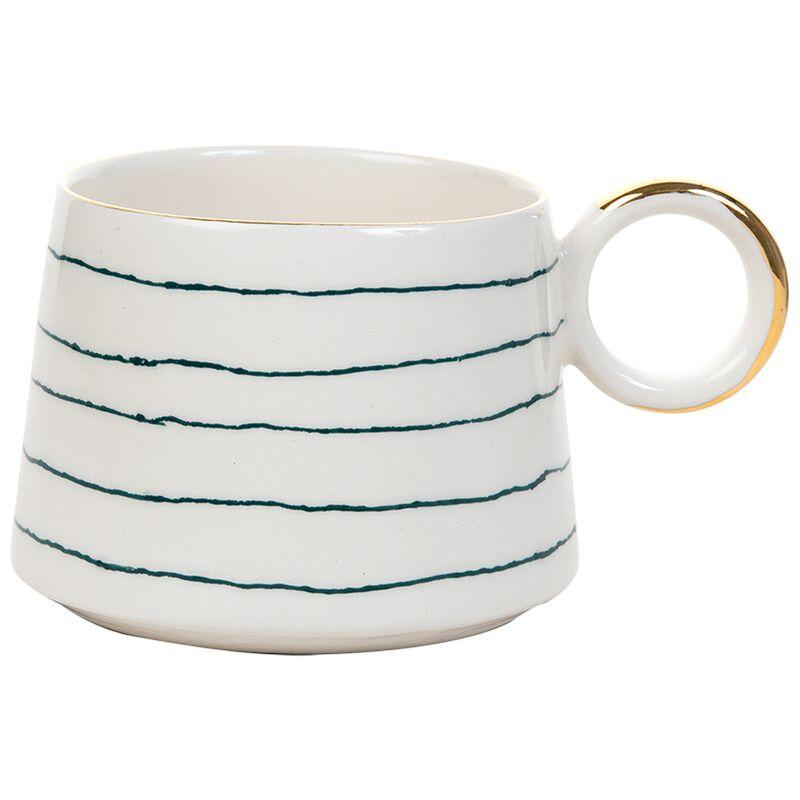 Kapula Akara Fine Stripe Mug -  green-white