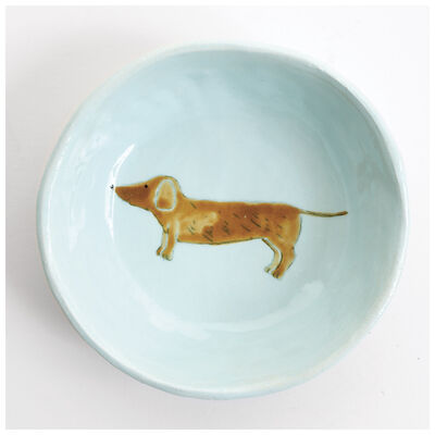Gemma Orkin Pale Blue Sausage Dog Snack Bowl