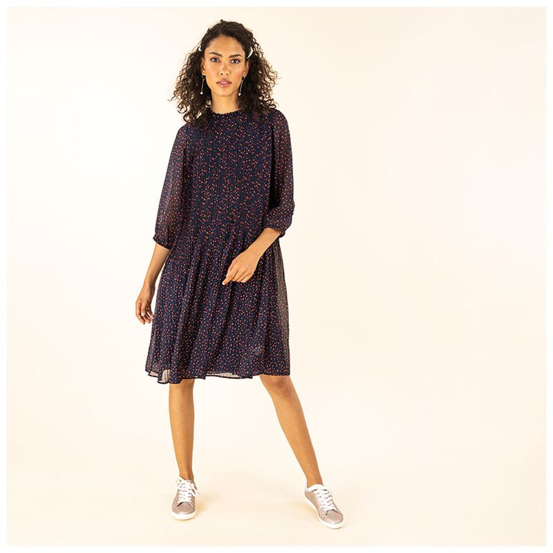 Poetry Zaira Pleated Dress -  navy