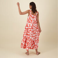 Kaia Printed Dress -  rust