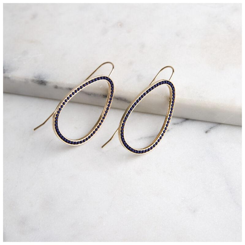 Geometric Drop Chain-Finish Earrings -  gold-navy