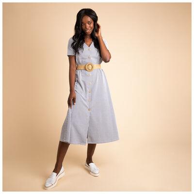 Theia Stripe Knit Dress